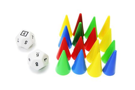 manoeuvre: Dice and Game Pegs on White Background