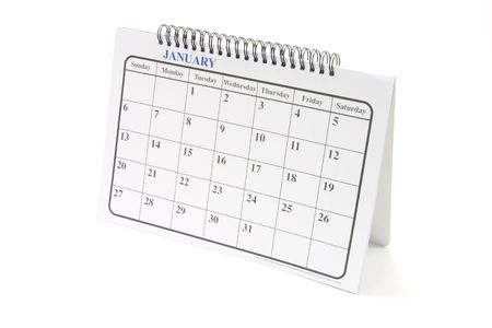 weeks: Desk calendar on white background