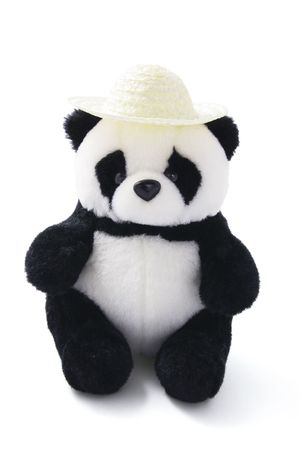 soft toy: Soft Toy Panda Wearing Straw Hat