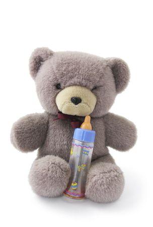 Teddy Bear with Milk Bottle on White Background photo