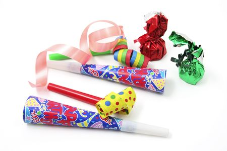 party favors: Chocolate Lollies and Party Favors on White Background