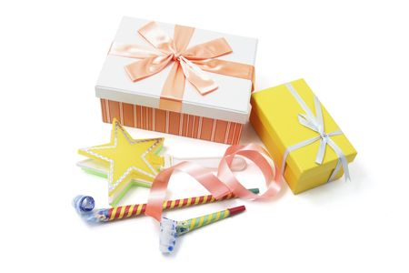 party favors: Gift Boxes and Party Favors on White Background