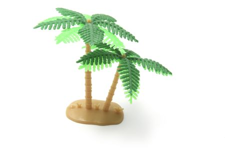 Miniature Plastic Palm Tree on White Background Stock Photo - 3715134