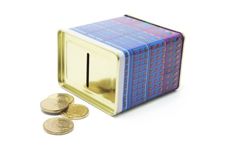 money box: Money Box with Coins on White Background