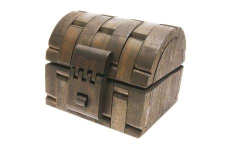 treasure box: Wooden Treasure Chest on White Background