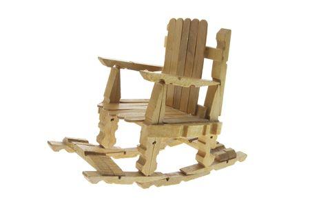 Miniature Rocking Chair on White Background Stock Photo - 3715420