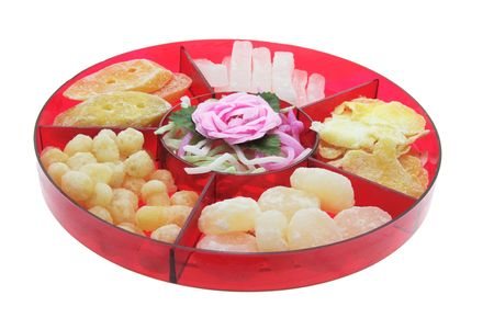 festive food: Chinese New Year Delicacies on White Background