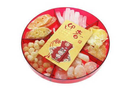 Red Packet and Chinese New Year Delicacies Tray photo