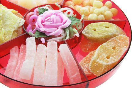 comida rica: Año Nuevo chino delicias sobre fondo blanco aisladas