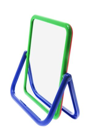 mirror image: Portable Mirror on Isolated White Background