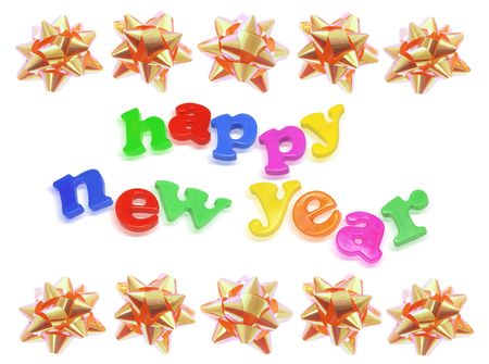 giftware: Star Bows with New Year Greetings on White Background Stock Photo