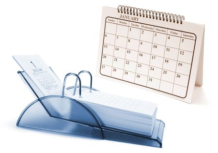 weeks: Desk Calendars on Isolated White Background