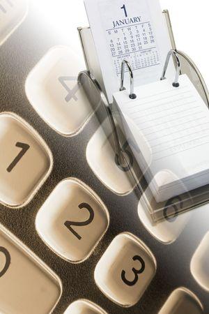 calendario escolar: Compuesto de la calculadora y calendario Desk