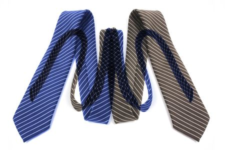 Pinstriped Neckties on Isolated White Background photo