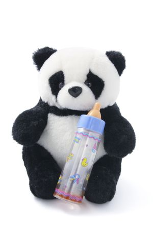 soft toy: Soft Toy Panda with Milk Bottle on White Background