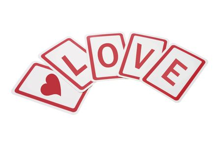 loveheart: Cards with Love Writings on Isolated White Background