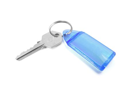 Key with Key Ring on Isolated White Background Stock Photo - 3750928