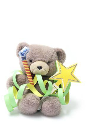 cotillons: Teddy Bear avec Party Favors sur fond blanc