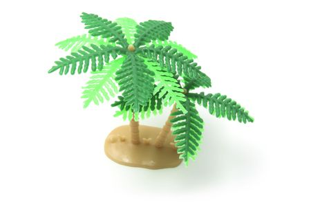 Miniature Plastic Palm Tree on White Background Stock Photo - 3750960
