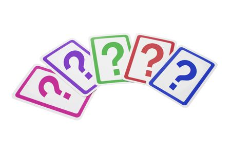 enquiry: Question Mark Cards on Isolated White Background