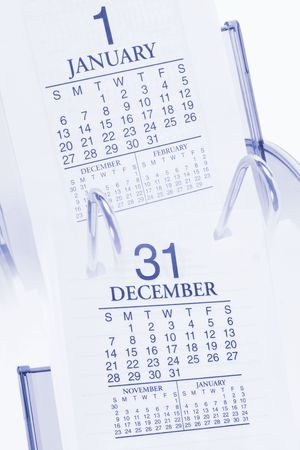 weeks: Composite of Desk Calendars in Blue Tone