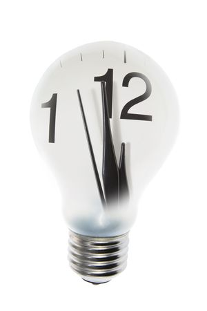 incandescence: Composite of Clock and Light Bulb on White Background