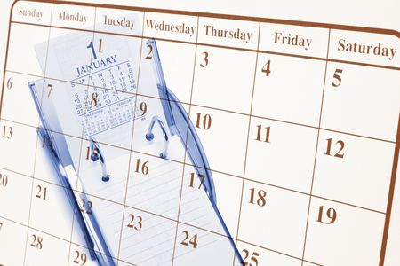 weeks: Composite of Calendars in Blue and Warm Tones Stock Photo