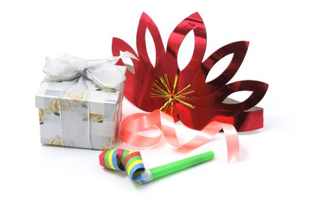 party favors: Gift Box with Party Favors on White Background
