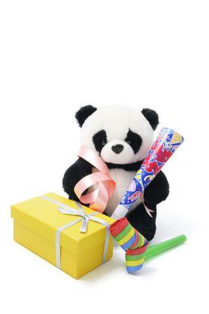 cotillons: Panda Soft Toy Party Favors avec sur fond blanc Banque d'images