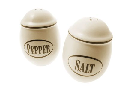 homeware: Salt and Pepper Shakers on White Background