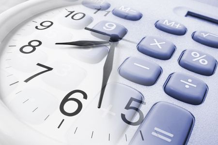 timely: Composite of Wall Clock and Calculator