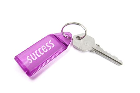 Key Ring with Success on Isolated White Background Stock Photo - 3837726