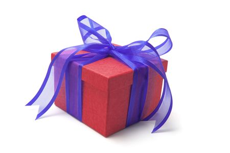 red gift box: Red Gift Box with Blue Bow Stock Photo