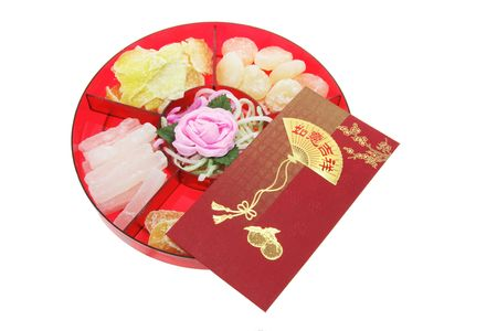 Box of Chinese New Year Delicacies on White Background photo