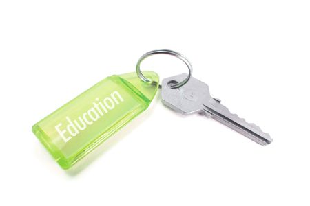 Key with Education Concept on White Background Stock Photo - 3870351