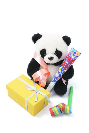 party favors: Soft Toy Panda with Party Favors on White Background