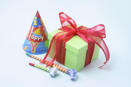 novelties: Gift Box and Party Novelties on Blue Background Stock Photo