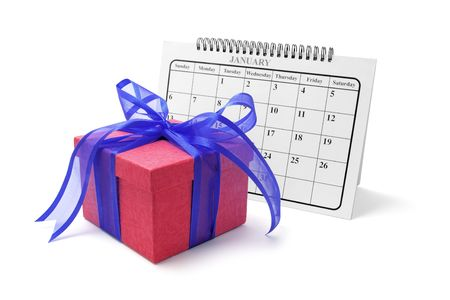 weeks: Gift Box and Calendar on Isolated White Background