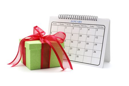 weeks: Gift Box and Calendar on White Background