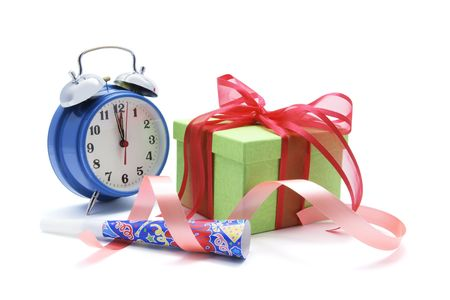 Gift Box and Clock on White Background photo