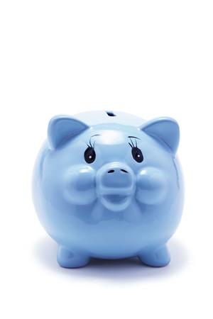 frugality: Piggy Bank on Isolated White Background