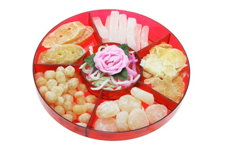 knock out: Chinese New Year Delicacies on White Background