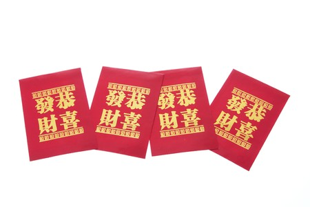 Chinese New Year Red Packets on White Background photo