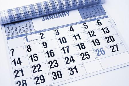organise: Hasta cerca de Calendario en tonos azul