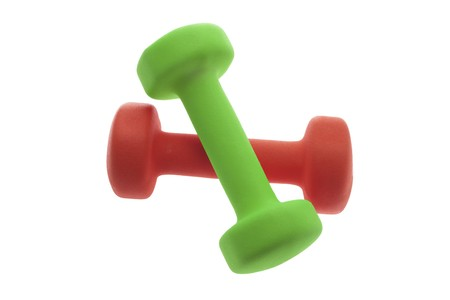 dumb bells: Dumb Bells on Isolated White Background Stock Photo