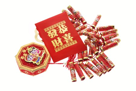 fire crackers: Fire Crackers and Red Packet on White Background
