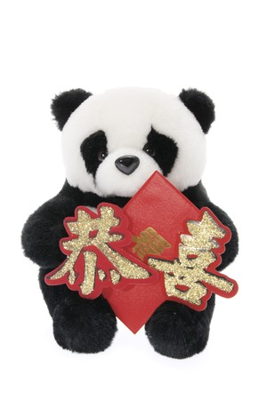 soft toy: Soft Toy Panda with Lucky Money Envelope on White Background