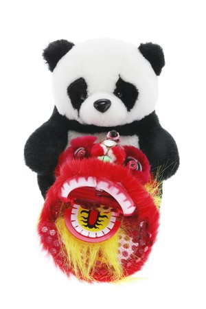 lion figurines: Soft Toy Panda and Lion Dance Figurine on White Background