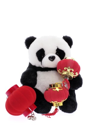 soft toy: Soft Toy Panda with Paper Lanterns on White Background