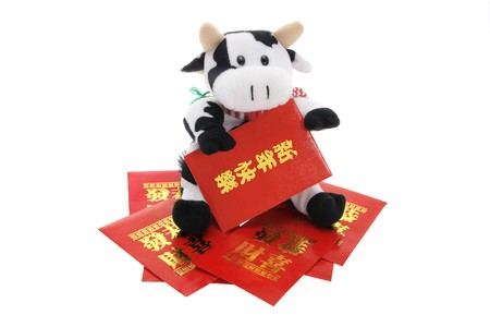 Soft Toy cow and Lucky Money Envelopes on White Background photo